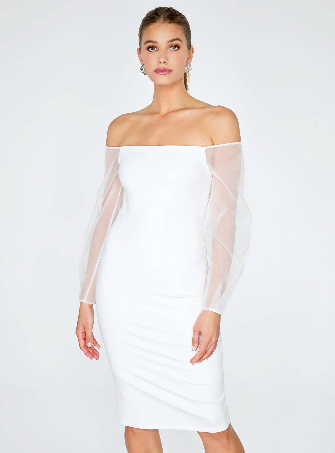 Off White Off the Shoulder Midi Pencil Dress