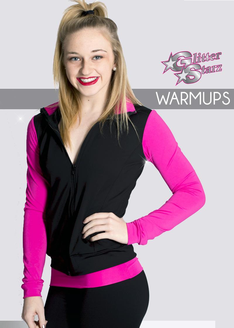 retro pink custom cheer and dance warmups by glitterstarz with team rhinestone logo