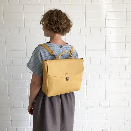 Кожаный рюкзак-портфель Wheat Field S