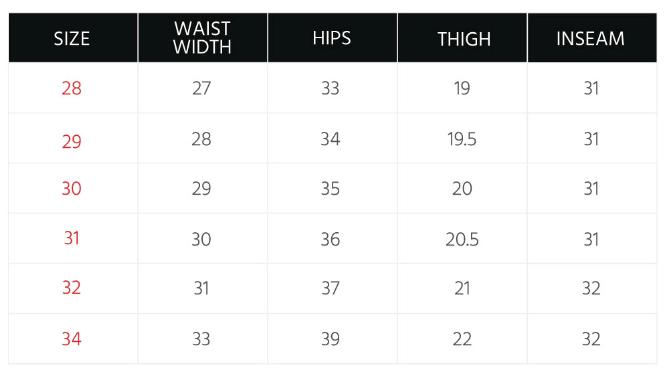 Men's Bottoms Size Guide – PENSHOPPE