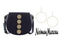 Neiman Marcus Black Saddle Bag and Berry Jewelry Drop Hoop Earrings