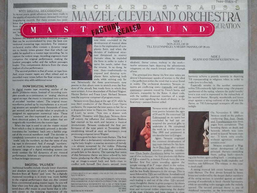 Sealed CBS Digital   MAAZEL/STRAUSS - Don Juan, Till Eulenspiegel, Death and Transfiguration / Promo copy - Audiophile Pressing