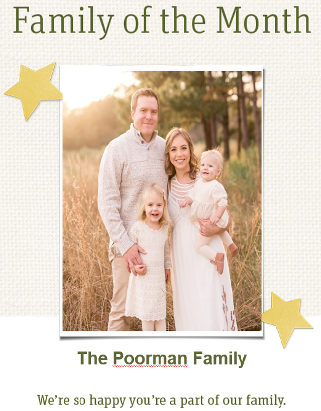 Poorman family of the month with stars, field, trees