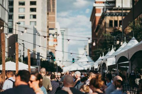 overhead photo of a street fair