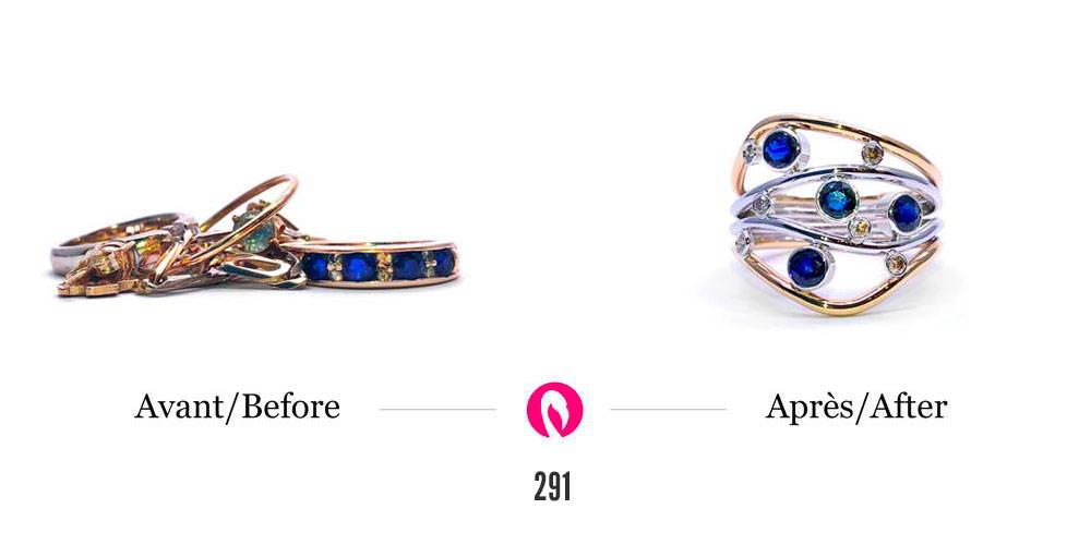 Transformation d'une bague avec saphirs et autres bijoux en or pour une bague moderne avec saphirs intitulée Nuit étoilée