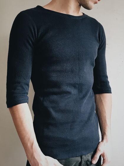 футболка-свитшот из двойной ткани с удлиненным рукавом 3/4