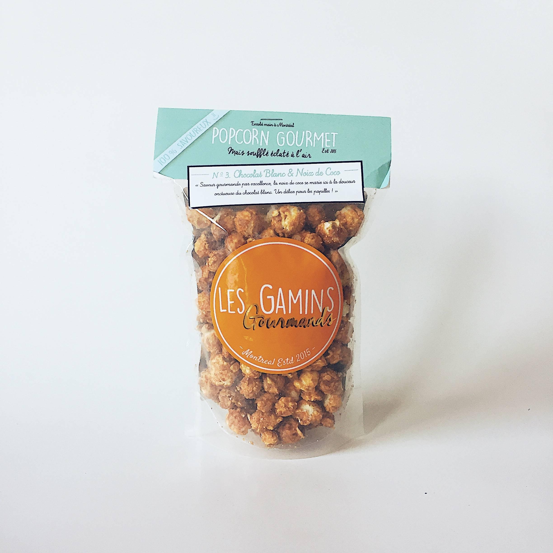 les gamins gourmands popcorn artisanal chocolat blanc noix de coco
