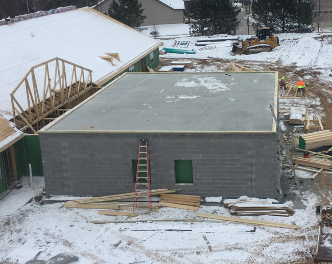Construction of storm shelter at Primrose School of St. Charles at Heritage, a premier preschool and daycare provider