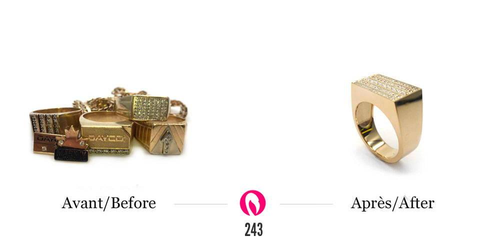 Bagues pour hommes transformés en une chevalière avec plusieurs rangs de diamants