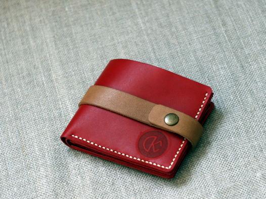 """Красный бумажник из натуральной кожи, модель """"PURE"""" extra"""