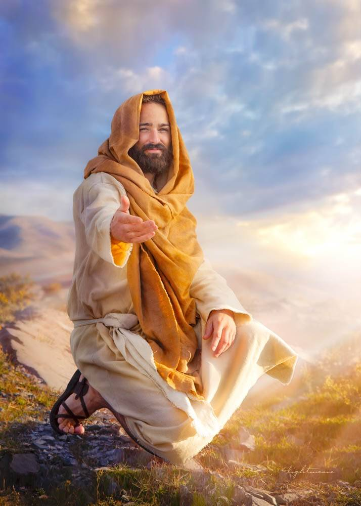 LDS art painting of Christ reaching out encouragingly toward viewer.
