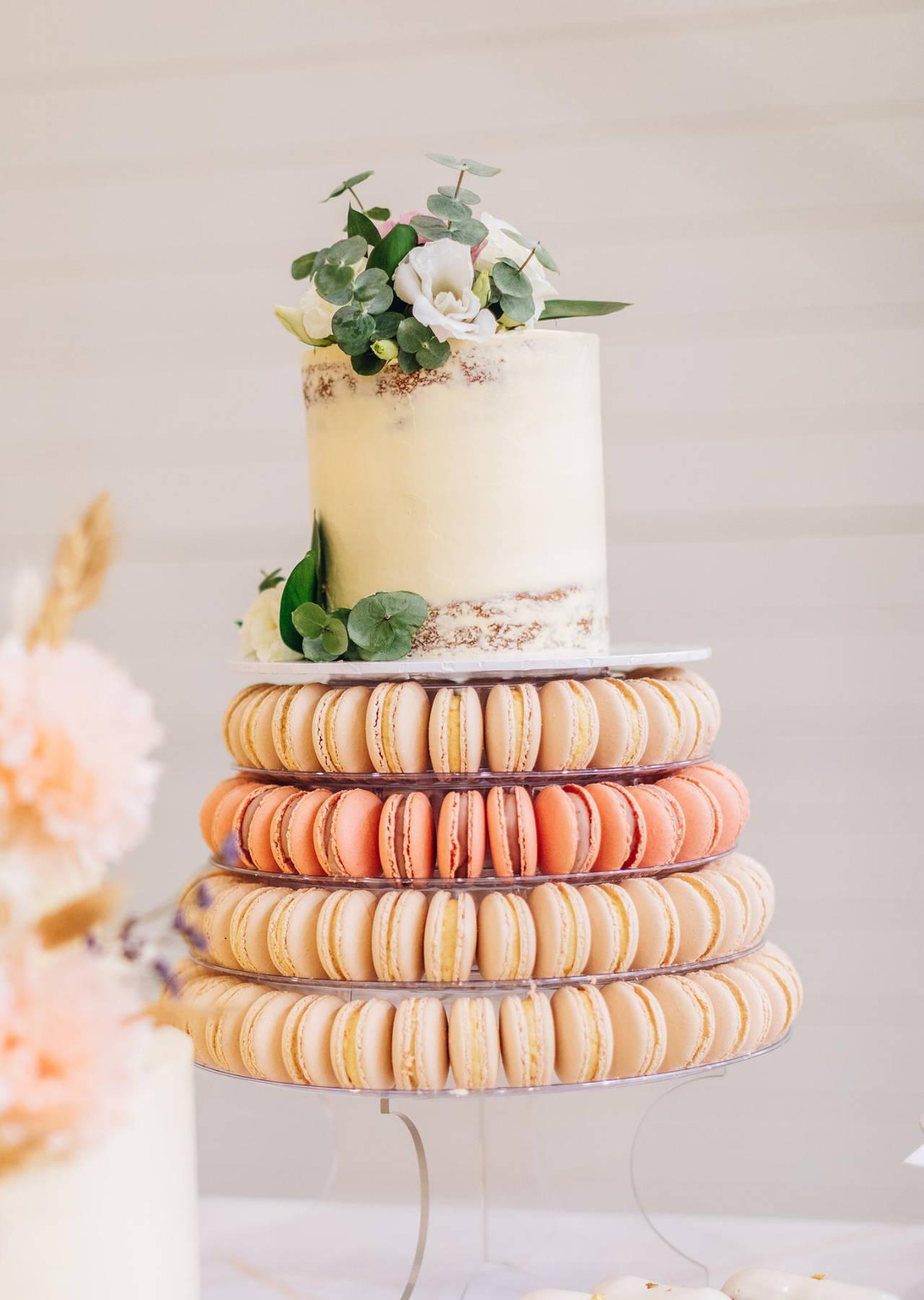 "4 Tier Macaron Tower / 12 Serves / 6"" Cake"