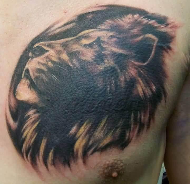 Tatouage Tete De Lion Pectoraux Art