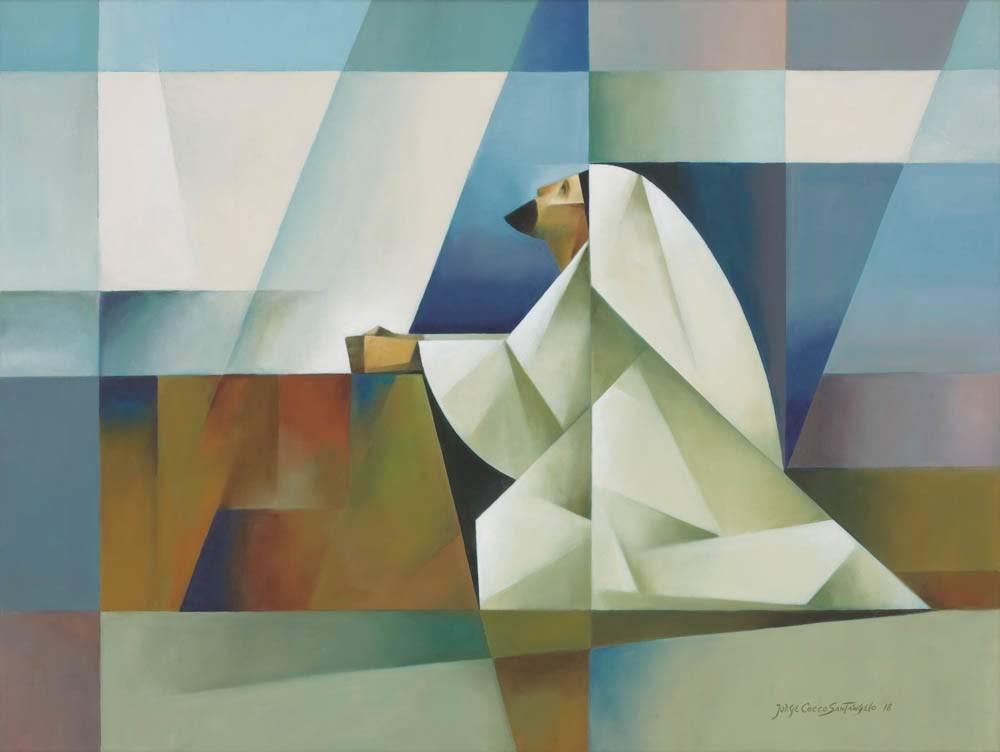Sacrocubism painitng of Jesus praying in a desert landscape.
