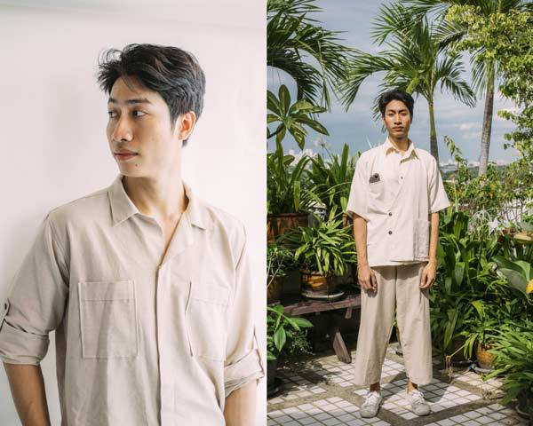 Man wearing organic cotton open weave shirt and man wearing asian style jacket with cropped organic cotton sustainable trousers both from sustainable menswear brand Seeker x Retriever