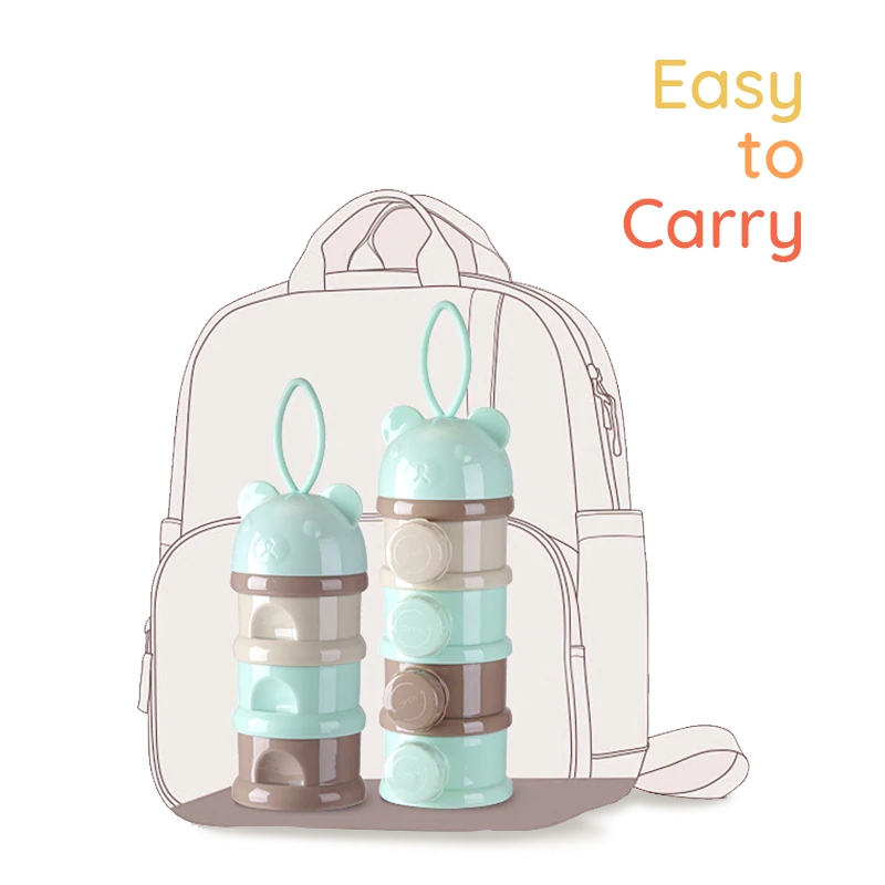 SuperTots baby milk powder dispensers in a backpack