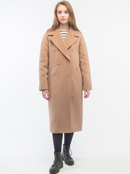 Утепленное двубортное пальто бежевое