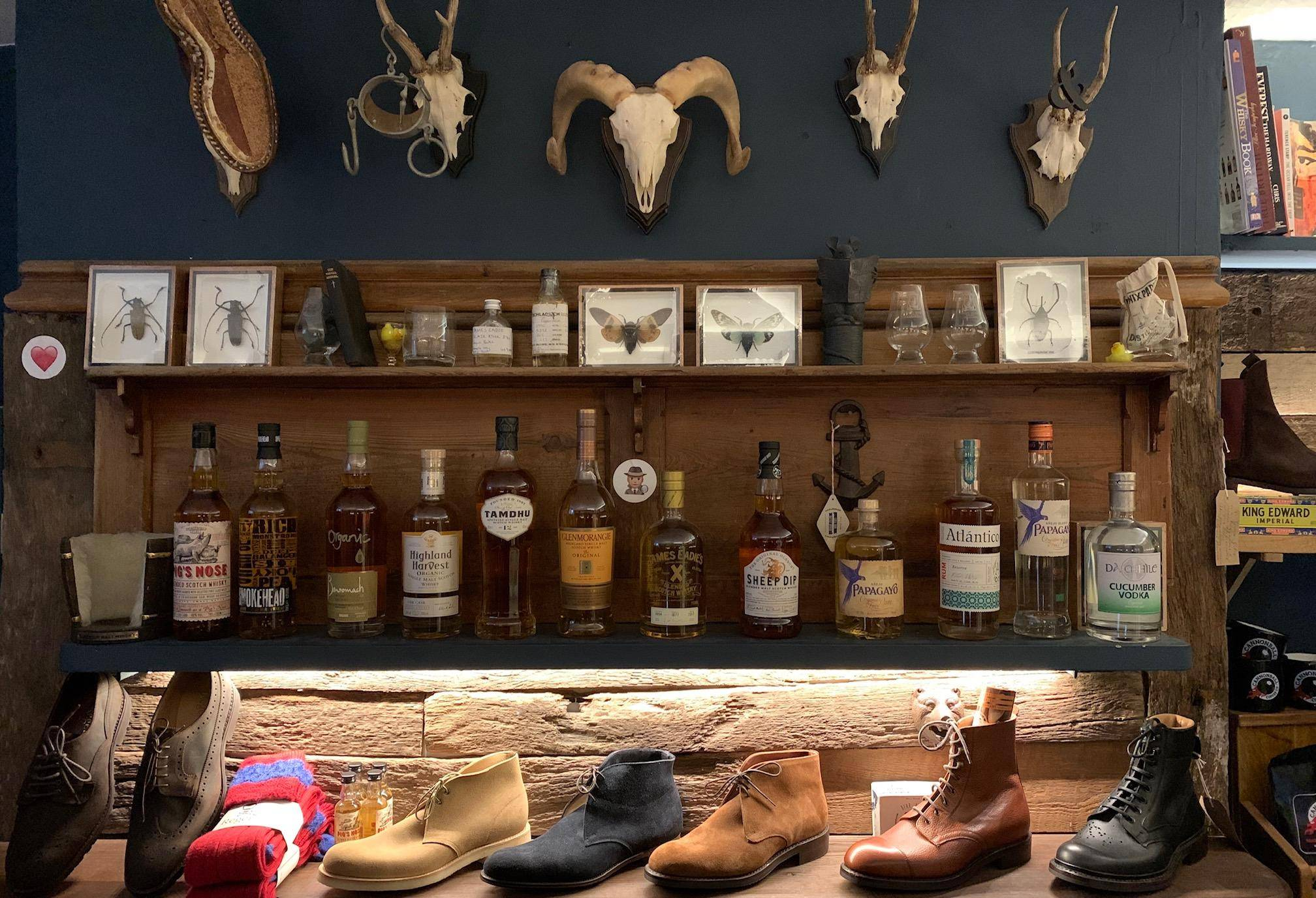 leather goods and whiskey on our bottom floor