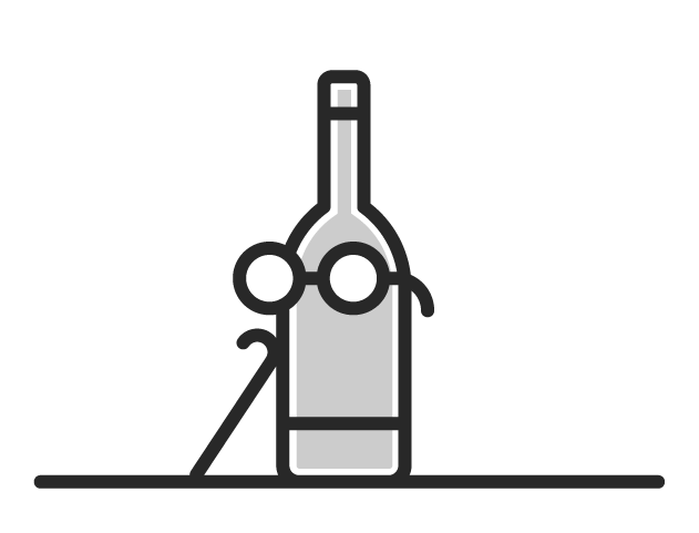 Icon of a bottle wearing glasses and a walking stick hinting that old wine does not necessarily mean the better wine.
