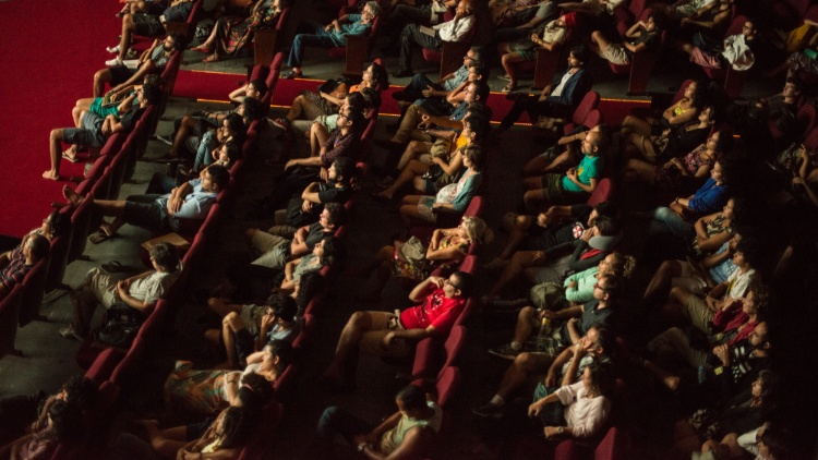 Ariel shot of a cinema audience