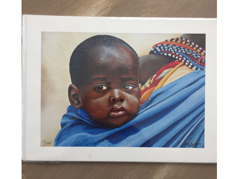 Young African Boy with Mother, Limited Edition Print