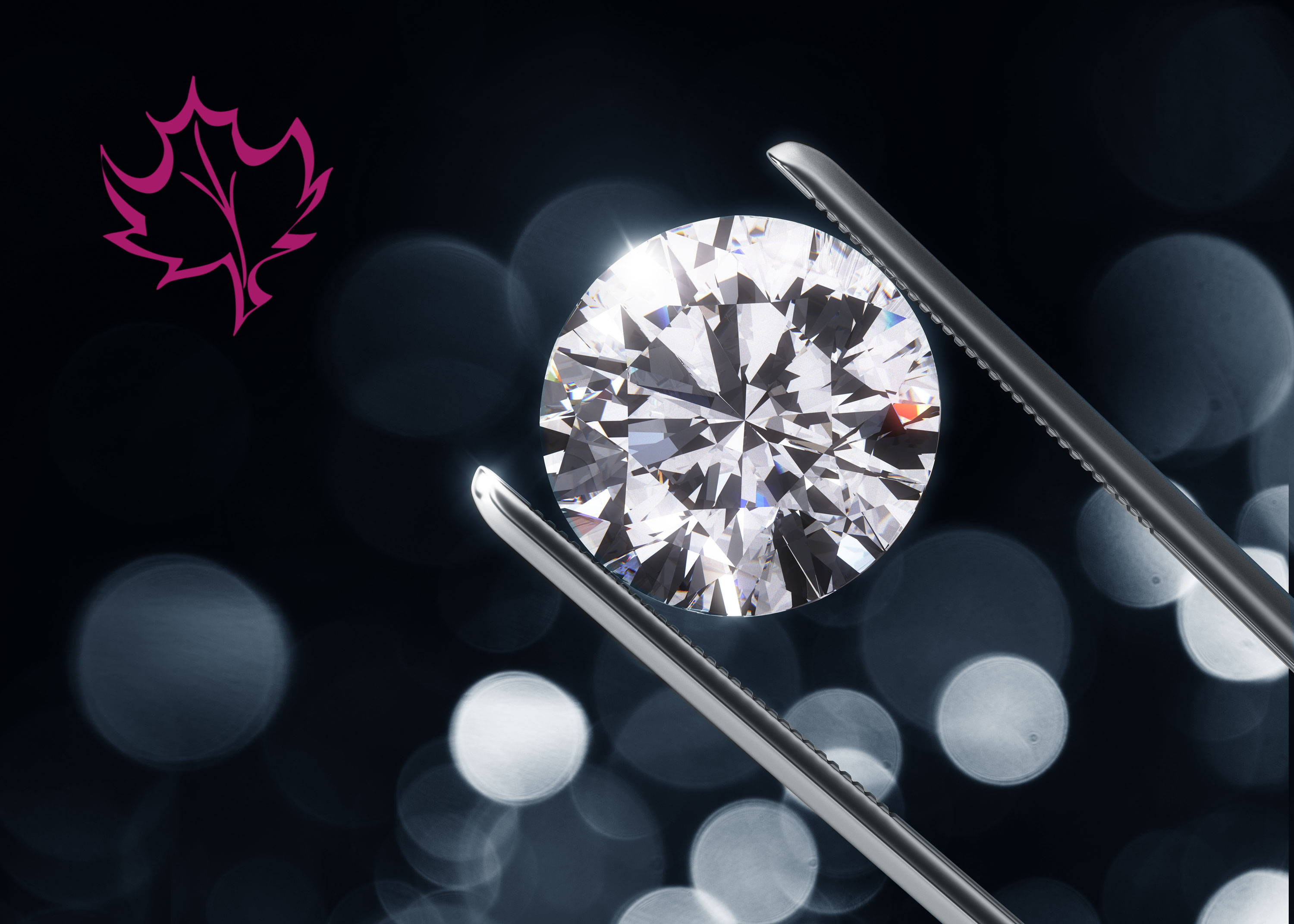 Hope for diamonds in Montreal. Seen here a beautiful diamond with lots of sparkle, held up t o catch the light.