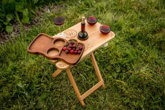 """Столик для вина """"Складной"""" с подносом"""