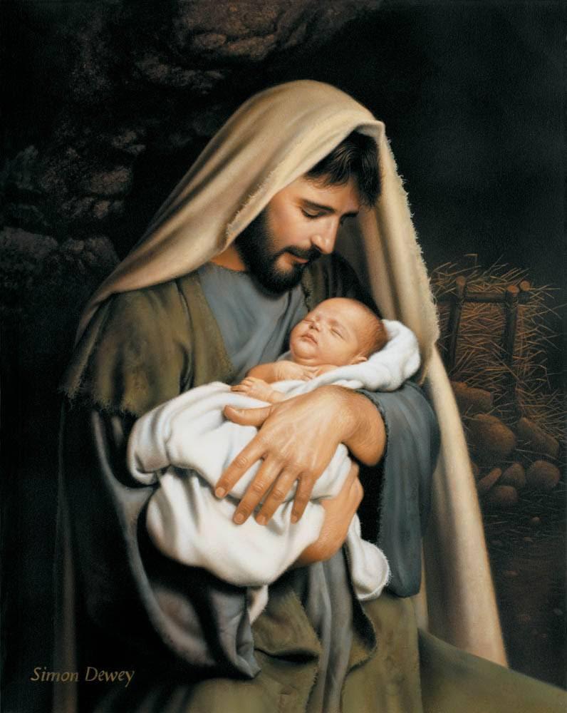 LDS art painting of Joseph holding infant Jesus.