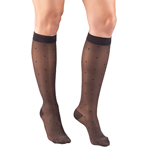 Ladies' Knee High Dot Pattern Sheer Stockings in Charcoal