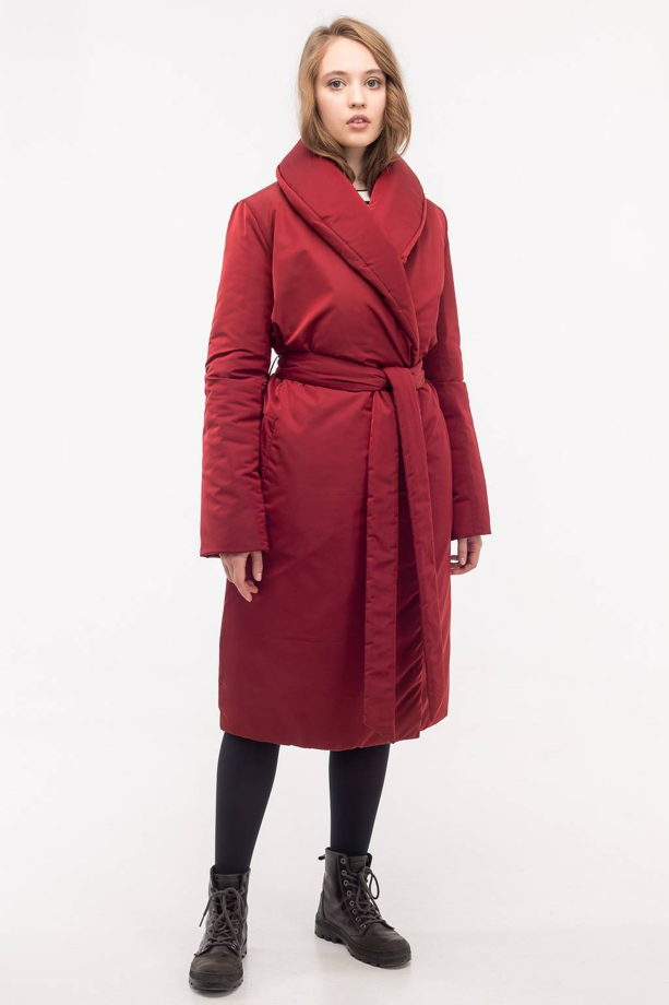 Пуховик-халат цвета марсала с утеплителем Alpolux