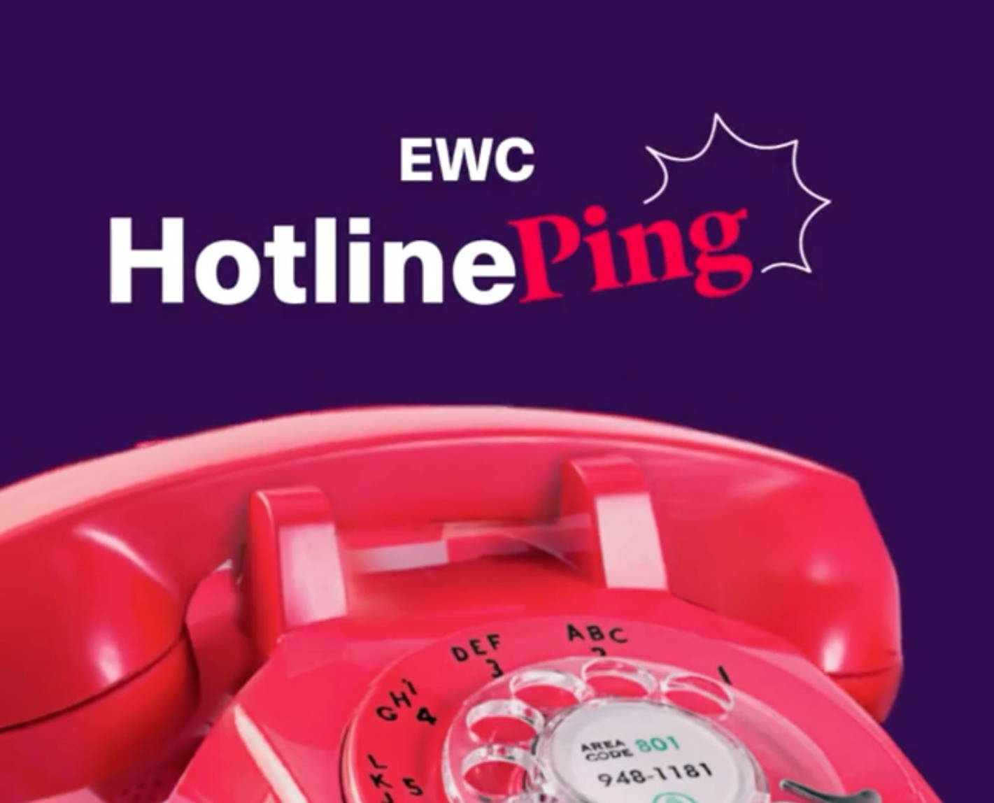 EWC Hotline Ping with pink telephone