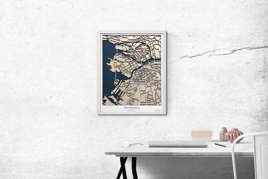 Объемная карта из дерева, город Санкт-Петербург