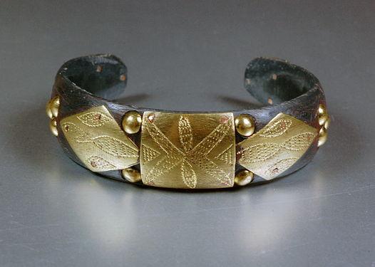 Туарегский браслет коричневый с латунью