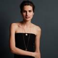 1st wedding anniversary Gold Farthing Pendant On Model | Lily Gardner London