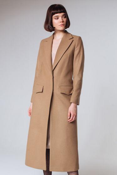 Пальто дизайнерское длинное бежевое