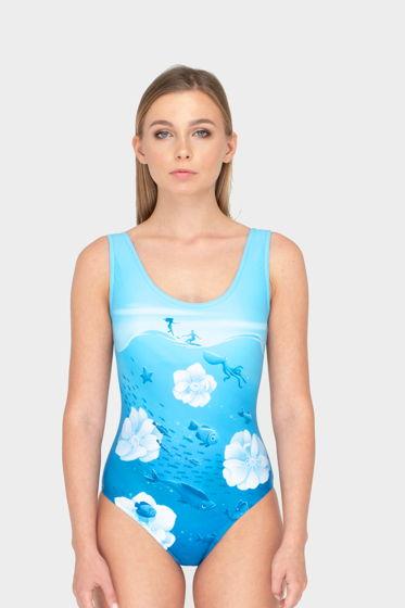 Слитный купальник. Море, голубой