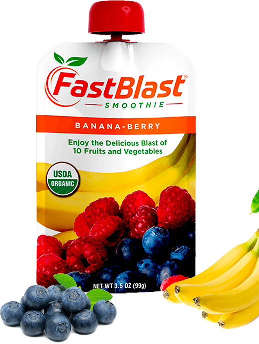 Fastblast banana-berry smoothie pouch