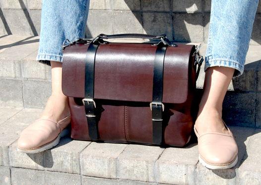 Кожаная коричневая сумка через плечо Street Coffee