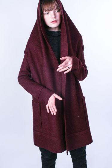 Лёгкое пальто / кардиган с воротником- капюшоном #1
