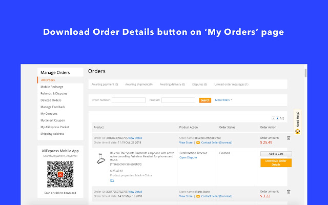 AliExpress Invoice Downloaded As PDF