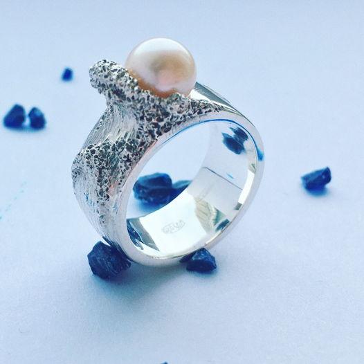 Кольцо с речным жемчугом «Ocean»