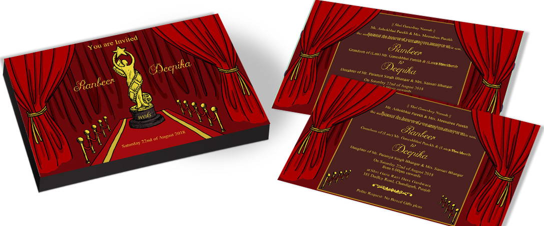 Modern award Theme Wedding Cards