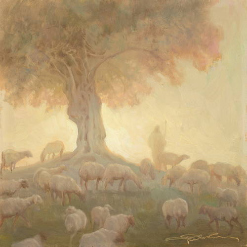 Soft painting of Jesus standing beneath a tree guarding a flock of sheep.