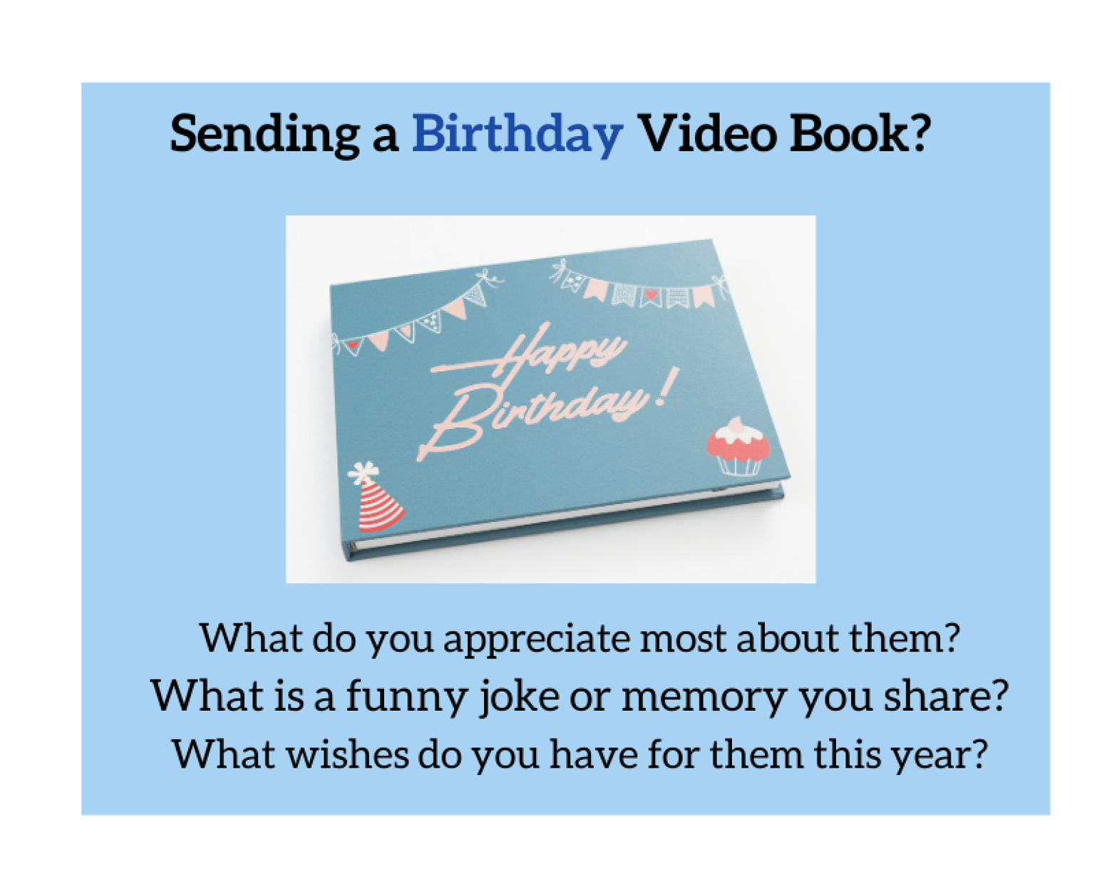 Video book with happy birthday on the cover