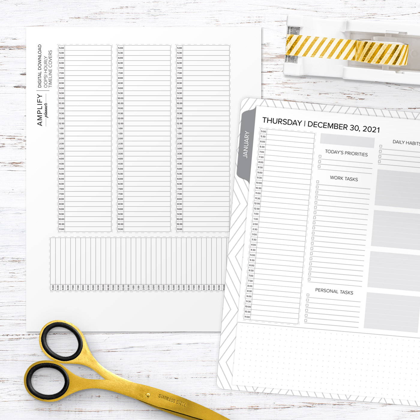 amplify planner hourly timeline cover download