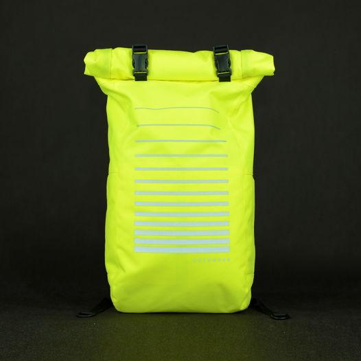 Лимонный ролл топ рюкзак со светоотражающим принтом / Lime Green Reflective Backpack
