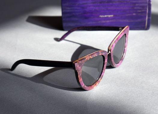 """Деревянные женские солнцезащитные очки """"Femininity"""" . Имитация камня """"чароит"""""""