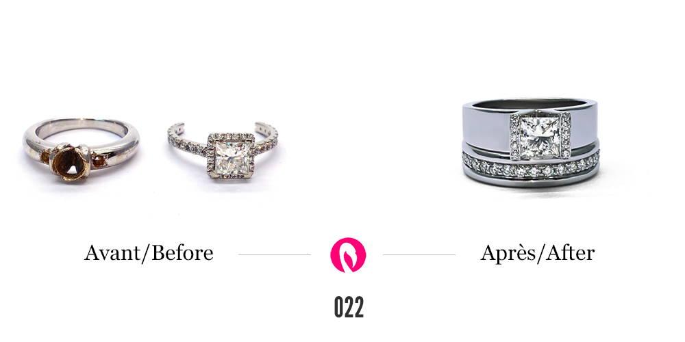 Vieilles alliances en or blanc avec pierres et diamants transformées en deux bagues superposées en or blanc. La première est un jonc éternité et l'autre, un solitaire à corps de bague large avec halo de diamants autour d'un gros diamant.