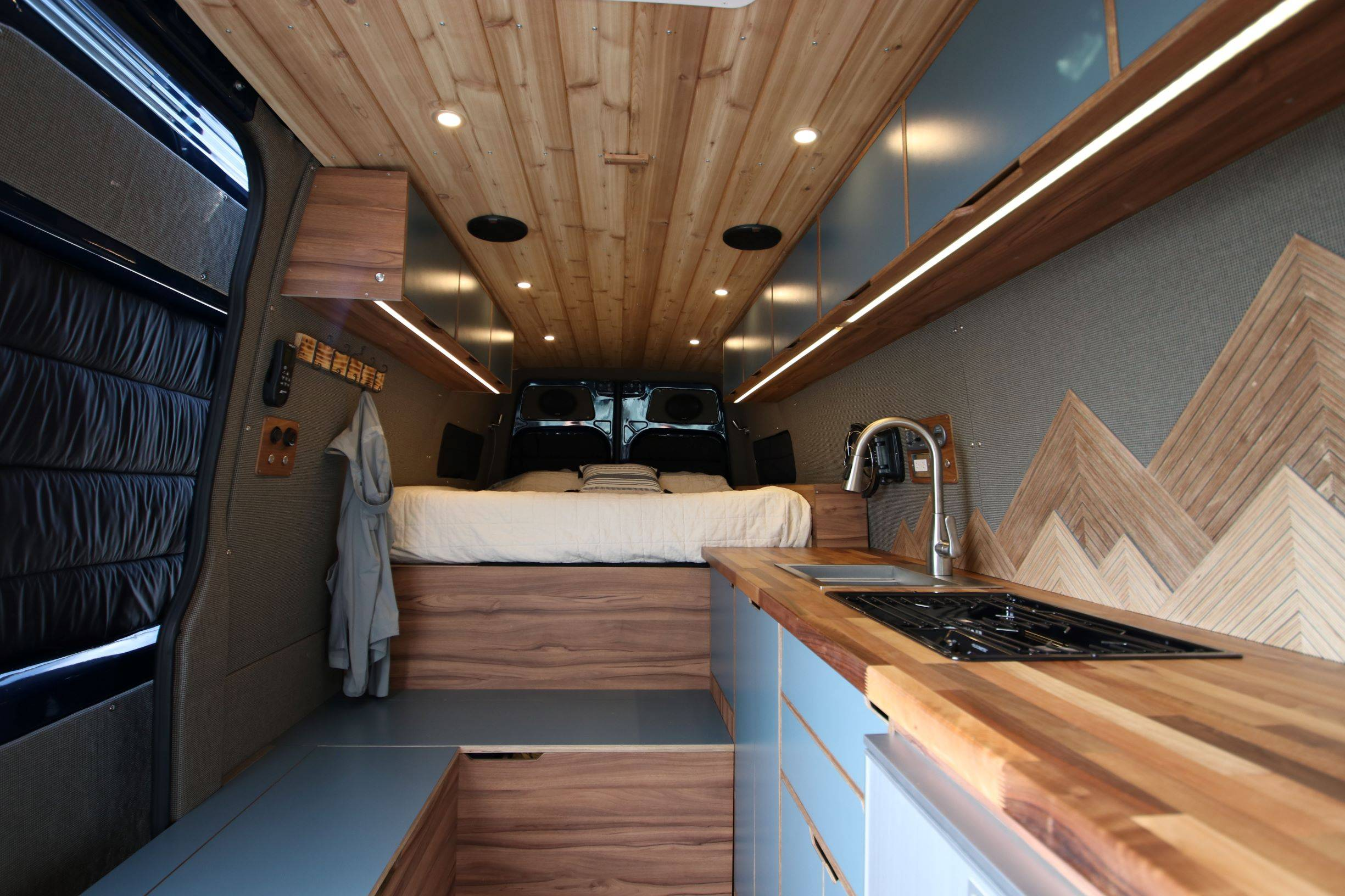The Outpost - Mercedes Sprinter 170 Luxury Van Conversion Interior View - The Vansmith in Boulder, Colorado