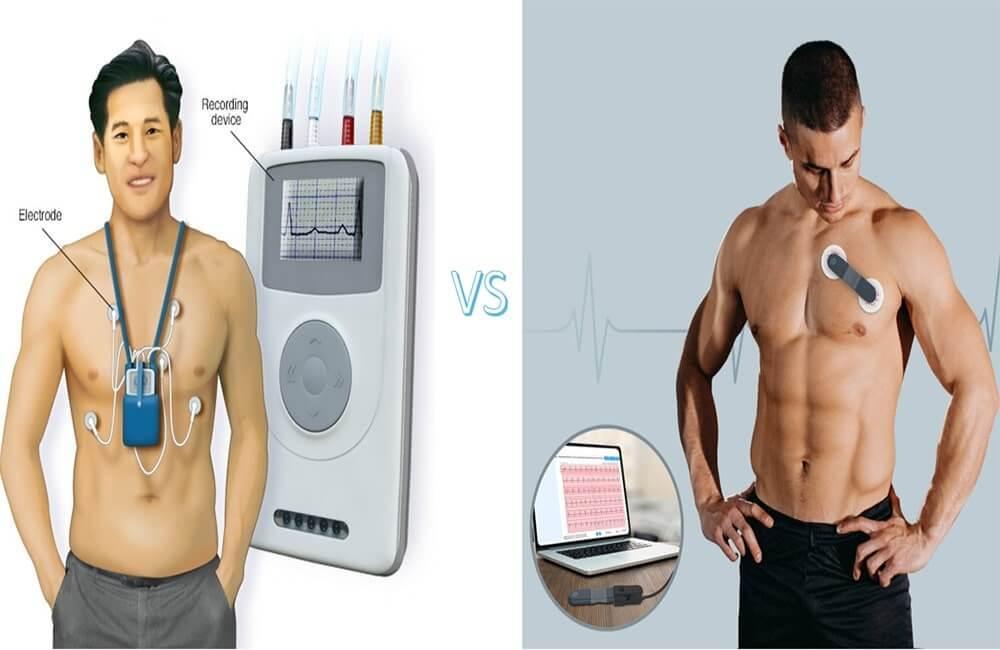 جهاز هولتر مونيتور VS Wellue مسجل تخطيط القلب على مدار 24 ساعة مع انحلال الذكاء الاصطناعي